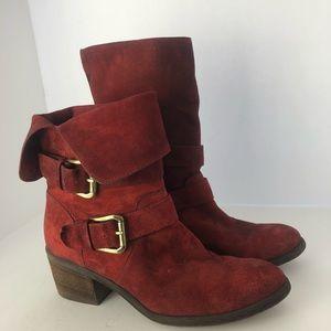 Donalt J. Pliner Danee red suede fold over boots